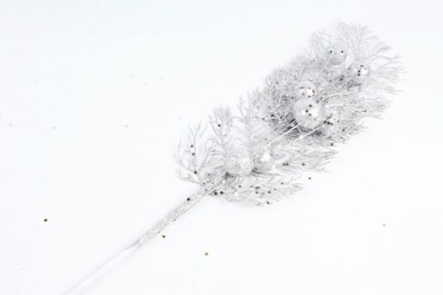 Ветка Мерцающая водоросль серебро   В10127