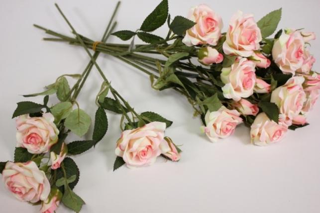 ветка розы 35 см, бело-розовые (12 шт в уп) sun452