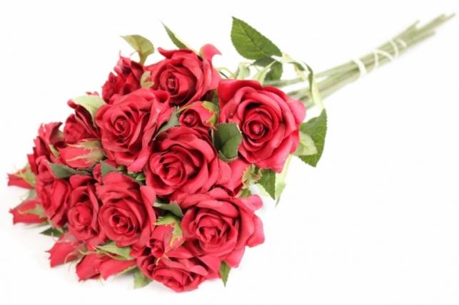 ветка розы 35 см, бордовая (12шт в уп) sun452