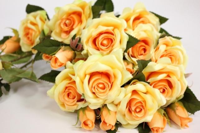 ветка розы 35 см, желтая (12шт в уп)  sun452