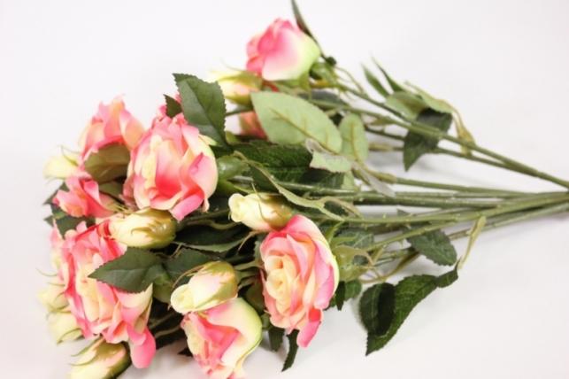 ветка розы 35 см, кремовые (12шт в уп) sun452