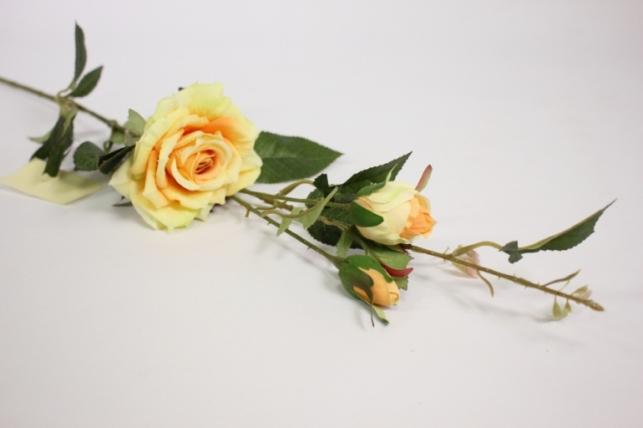 ветка розы 45 см, желтая sun453