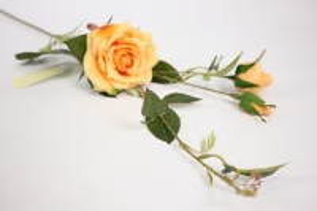 ветка розы 45 см, оранжевая sun453