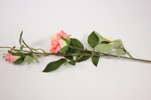 ветка розы 45 см, розовая sun453