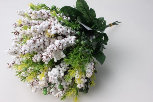Ветка с белыми ягодками (6 шт в уп) KWL251 - искусственные растения для декора
