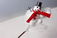 Ветка с Снеговиком белая с блестками (1шт)