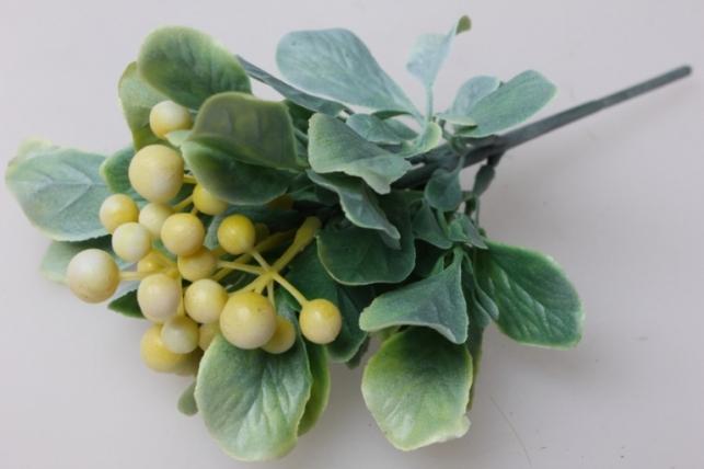 Ветка с ягодками бело/желтая 20см 3192