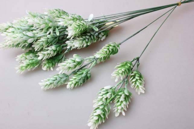 веточка декоративная бело/зеленая 30см (10шт в упаковке) 9781