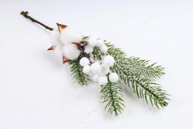 Веточка ели с хлопком, белые шары   LX05  0859