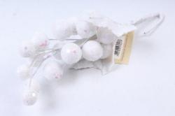 Веточка Новогодняя Белый перламутр 25см  KBG44W  6476