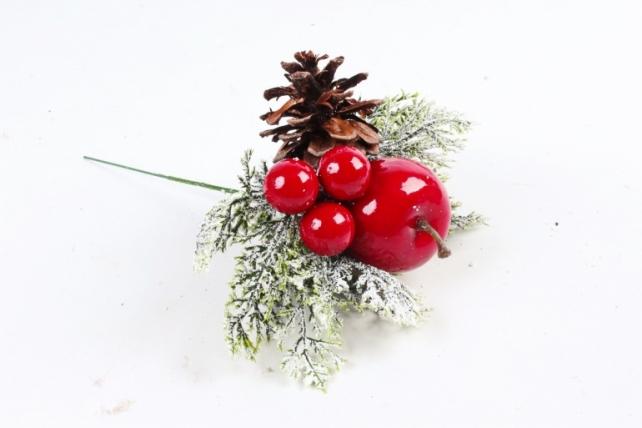 Веточка Новогодняя яблоко 17см  3745
