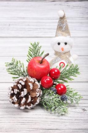 Веточка Новогодняя  шишка, яблоко 20 см  P7-U-326