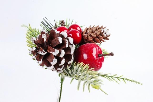 Веточка Новый Год яблоко 18см  3398