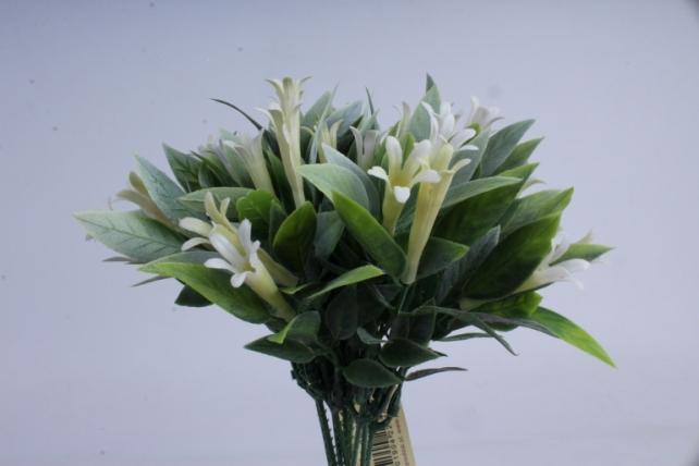 веточка с белыми цветочками  25см (10шт в уп)  ava163c  8451