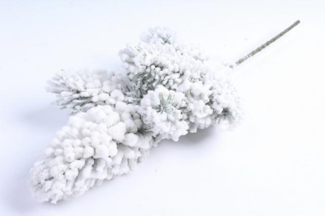 Веточка сосны снежная с блёстками  СН053