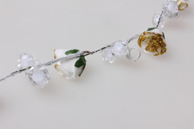 веточка свадебная с цветочками 30см