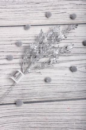 Веточка травы блестящая 32 см серебро 831791