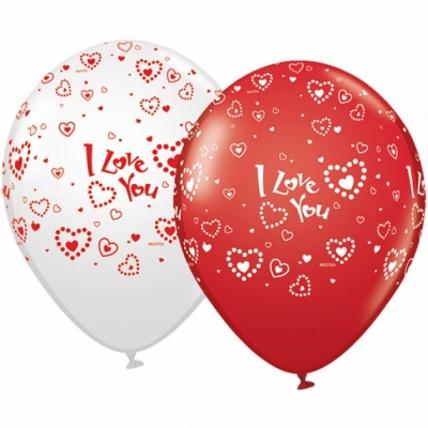 """Воздушные Шары (12""""/30см) I love you (сердца), пастель,5ст, 100 шт"""