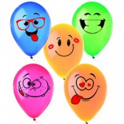 """Воздушные шары - Надувные шары - Шар (12""""/30см) Смайлы, Ассорти, пастель, 1ст, 50шт"""