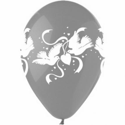 """Воздушные шары - Надувные шары - Шар (12""""/30см) Свадебные голуби, Прозрачный, кристалл, 4ст, 50шт"""