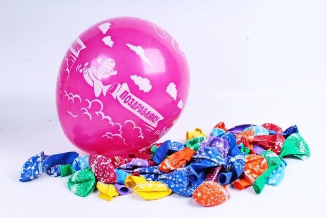 """Воздушный шар (12""""/30 см)Поздравляю с праздником!, Ассорти, пастель, 5ст, 50шт, 612536"""