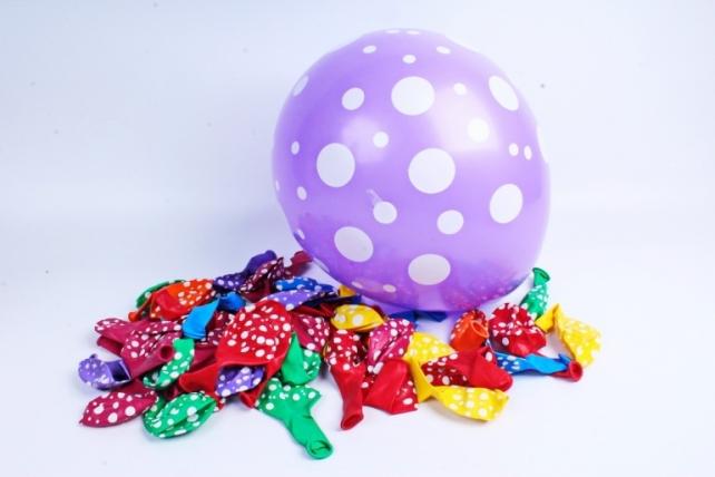 """Воздушный шар (12""""/30см) Точки №3, Ассорти, пастель, 5ст, 50 шт. 612635"""