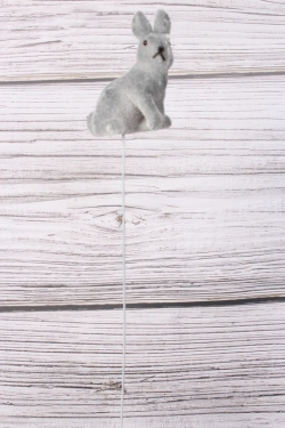 Вставка 27 см зайчик серебристый 7 см  флок  SF576