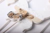 Вставка Бабочка белая с подвеской сердечко (12 шт. в уп.)