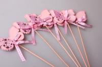 Вставка бабочка розовая с блестками (12шт. в упаковке) 4657