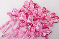 Вставка Бабочка розово/малиновый с бантом (24 шт. в упаковке)