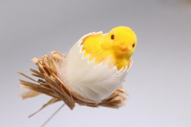 Вставка Декоративная - Цыплёнок в яйце флок 29см (1шт) - Код 8994