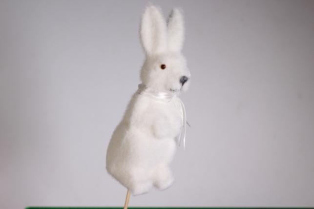 Вставка Декоративная - Заяц 16см большой флок белый 27см (1шт) - Код 9083