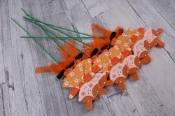 Вставка  Девочка оранжевая из дерева  (6шт в уп) FH170160  2526