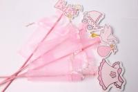 Вставка для букета Дети розовые с мешочком (12 шт. в уп.)