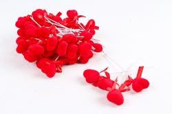 Вставка флок Сердце красное  (50 шт в уп)  H1804081