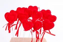 Вставка флок Сердце красное  (12 шт в уп)  HT16A599