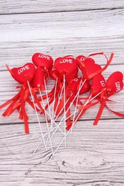 Вставка флок Сердце красное 25см   (12 шт в уп)  HT13A077 S/12