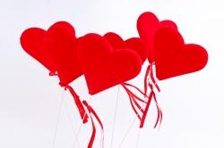 Вставка флок Сердце красное   (6 шт в уп)  HT13A071 S/6