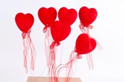 Вставка флок Сердце красное  8см (6 шт в уп) HT13A073 S/6