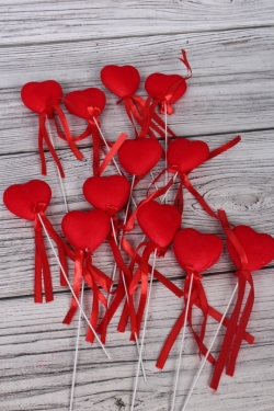 Вставка флок Сердце красное  22см (12 шт в уп)  HT13A070 S/12