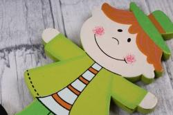 вставка  мальчик в шляпе салатовый из дерева  (6шт в уп) fh17015g  2496