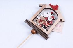 Вставка Новогодняя Дед Мороз с птичкой (1шт)  LHNH303А
