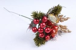 Вставка новогодняя  красный/серебряный