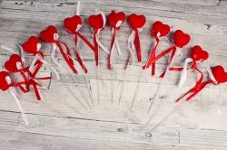Вставка сердца 25 см с лентой по 12 шт пенопласт/флок 302G1388