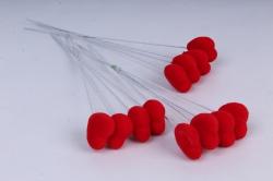 Вставка Сердце флок красное 21 см (12 шт в уп)  ZH6014
