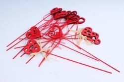 Вставка Сердце красное ажурное  (12шт в уп) 2013ZL-017A  4571