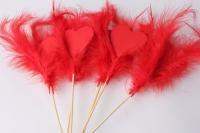 Вставка  украшение в букет Сердце с перьями и божьей коровкой (12шт)