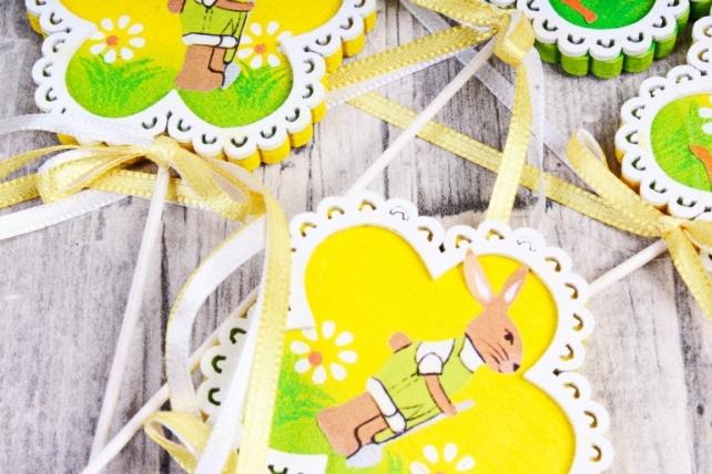 Вставка  Курочка/заяц в цветке (4 шт в уп) BE170119Y