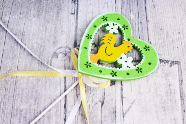 Вставка  Петушок в сердце желтый/салатовый на пружинке (4 шт в уп) BE164004G/Y