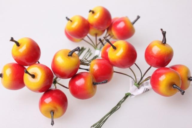 Яблоки  2,5см (12 пучков по 6 шт) искусственные фрукты